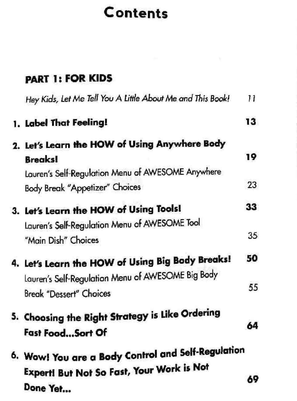 The kids guide to staying awesome - table of contents