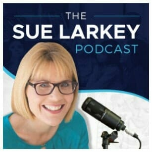 Podcast Photo of Sue Larkey with microphone